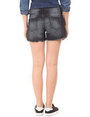 EdHardy Women Skinny Fit Distressed Denim Shorts