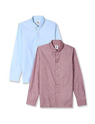 Excalibur Assorted Semi Cutaway Collar Shirt - Pack Of 2