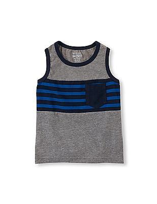 The Children's Place Toddler Boy Sleeveless Striped Chest Pocket Active Tank Top