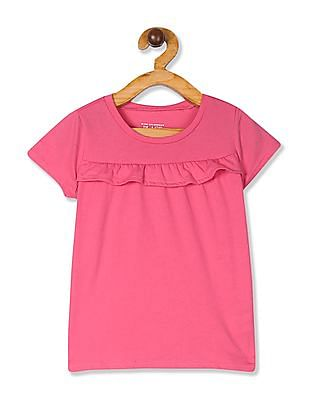 The Children's Place Toddler Girls Short Sleeve Ruffle Front Top