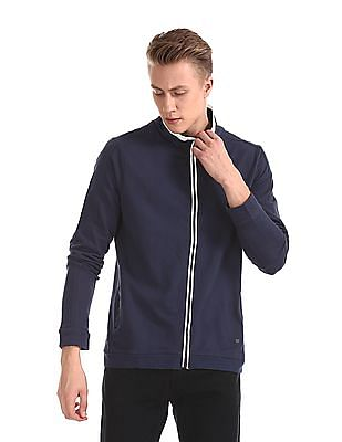 Cherokee Blue High Neck Zip up Sweatshirt
