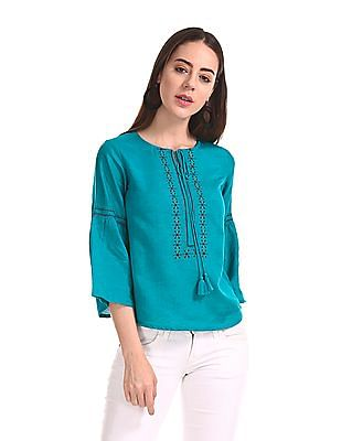 Bronz Bell Sleeve Embroidered Top