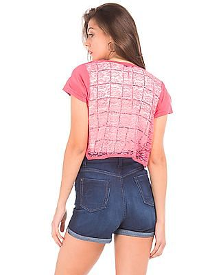 SUGR Lace Back Cropped Shrug