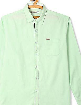 Flying Machine Green Mitered Cuff Oxford Shirt