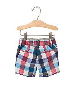 GAP Baby Multi Colour Bold Plaid Pull On Shorts