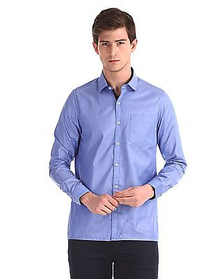 Excalibur Blue Pinstriped Slim Fit Shirt