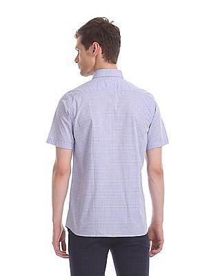 Arrow Purple Regular Fit Check Shirt
