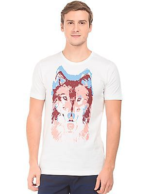 Colt Wolf Print Cotton T-Shirt