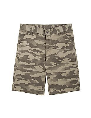 FM Boys Boys Camouflage Print Slim Fit Shorts