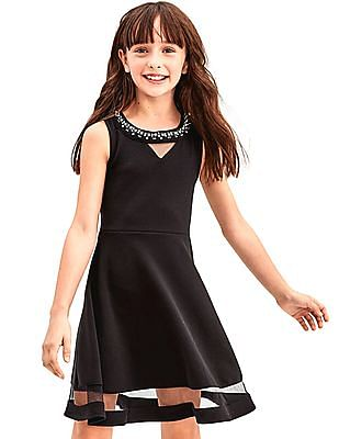 The Children's Place Girls Embellished Neck Fit And Flare Dress
