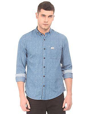 U.S. Polo Assn. Denim Co. Button Down Collar Printed Chambray Shirt