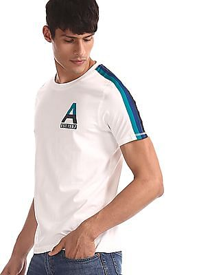 Aeropostale White Contrast Taping Crew Neck T-Shirt