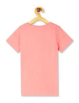 Cherokee Pink Girls Round Neck Printed T-Shirt