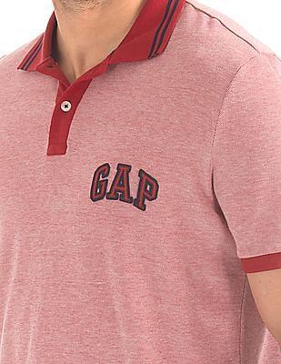 GAP Men Red Tipped Collar Pique Polo Shirt