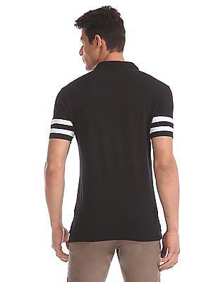 U.S. Polo Assn. Black Striped Sleeve Pique Polo Shirt