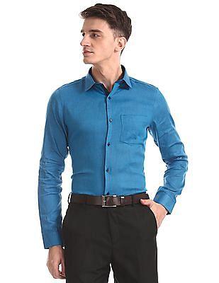 Excalibur Blue Super Slim Fit Patterned Shirt