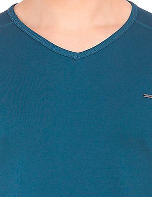 Flying Machine Long Sleeve V-Neck T-Shirt