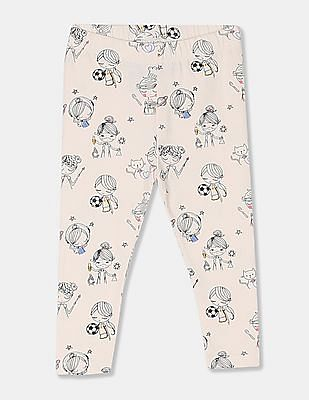 GAP White Toddler Print Leggings In Stretch Jersey