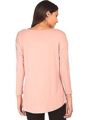 Cherokee Long Sleeve High Low Hem Top