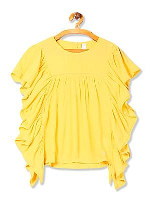 U.S. Polo Assn. Kids Girls Butterfly Sleeve Crinkled Top
