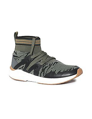 Flying Machine Green High Top Knit Sneakers