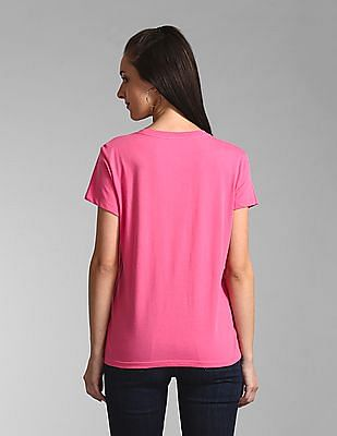 GAP Pink Embroidered Logo Crewneck T-Shirt
