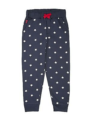U.S. Polo Assn. Kids Boys Star Print Slim Fit Joggers