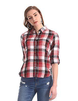 Flying Machine Women Red Full Sleeve Check Shirt