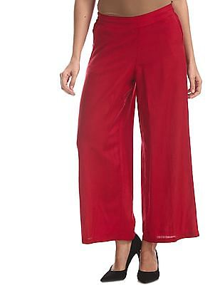 Bronz Red Solid Woven Palazzos