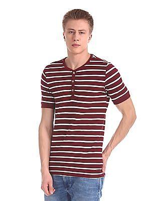 Cherokee Slim Fit Striped Henley T-Shirt