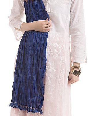 Karigari Blue Crinkled Cotton Dupatta