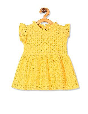 Donuts Yellow Girls Lace Fit And Flare Dress