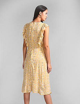 GAP Flutter Sleeve Floral Print Dress