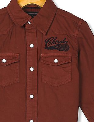 Cherokee Boys Solid Cotton Shirt