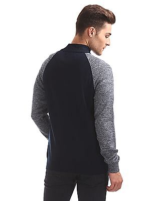 Flying Machine Colour Block Zip Up Sweater