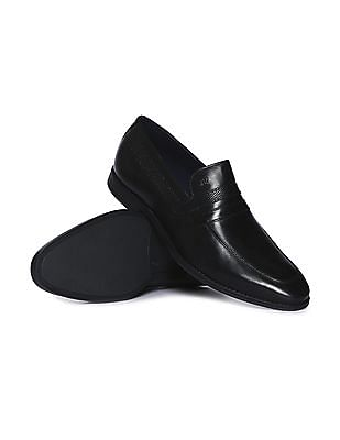 Arrow Textured Panel Leather Slip On Shoes