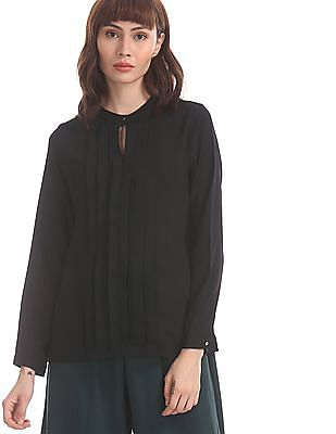 Elle Studio Black Notched Collar Pleated Front Top