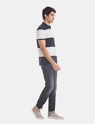 GAP Blue Bold Stripe Pique Polo Shirt