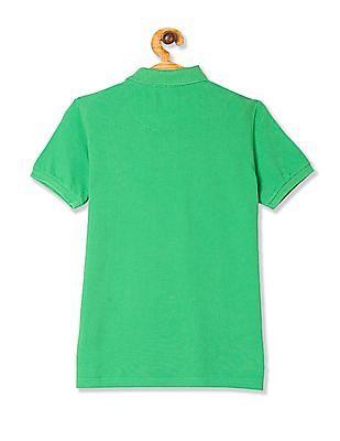 U.S. Polo Assn. Kids Green Boys Solid Pique Polo Shirt