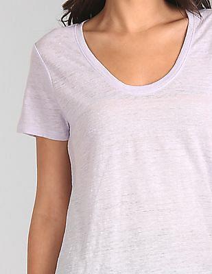 GAP Women Purple Short Sleeve Scoop Neck T-Shirt In Linen