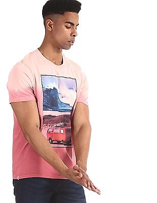 Aeropostale Pink Printed Front Ombre Dye T-Shirt