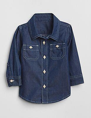 GAP Baby Chambray Long Sleeve Shirt