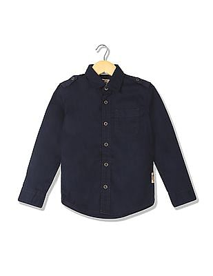 FM Boys Boys Slim Fit Solid Shirt