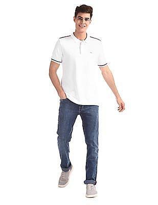 Arrow Sports White Solid Compact Cotton Polo Shirt