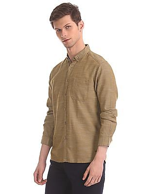 Cherokee Brown Button Down Patterned Shirt