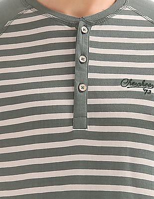 Cherokee Long Sleeve Striped Henley T-Shirt