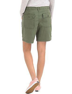 GAP Women Green Girlfriend Rolled Utility Shorts