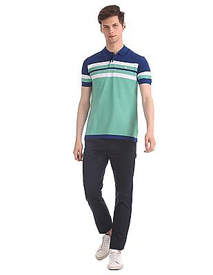 Roots by Ruggers Green Stripe Chest Pique Polo Shirt