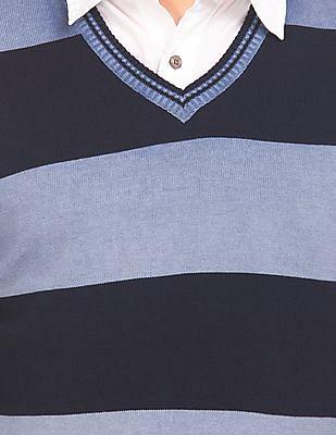 Flying Machine Striped V-Neck Sweater