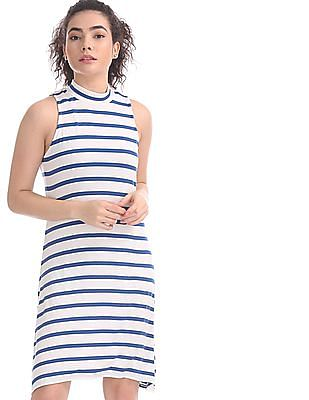 Aeropostale White and Blue Striped T-Shirt Dress
